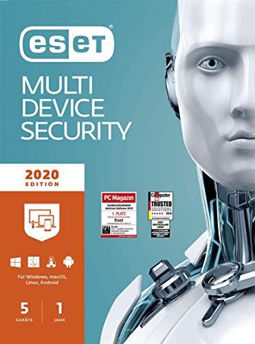 ESET Multi-Device Security 2020 | 5 Geräte | 1 Jahr Virenschutz | Windows (10, 8, 7 und Vista), macOS, Linux und Android | Download