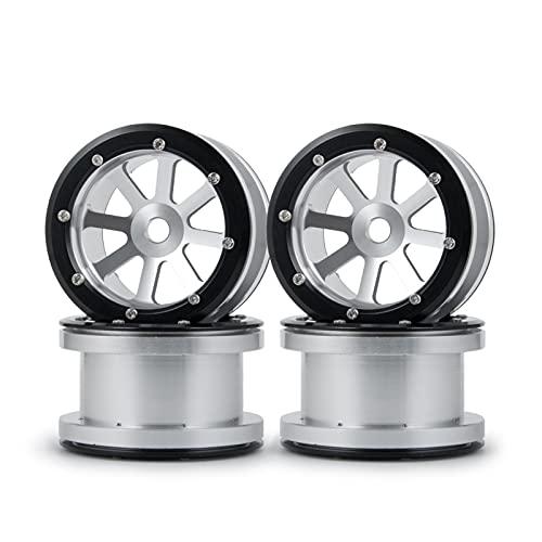 (H) Neumáticos RC Crawler 0 Wraith Wheels llantas 2.2 'Beadlock Wheels Hubs para 1/10 WRATH 90018 RC Crawnler Coche Metal Rueda Rueda Piezas Neumáticos RC Slash 4x4 Neumáticos ( Color : Silver 4PCS )
