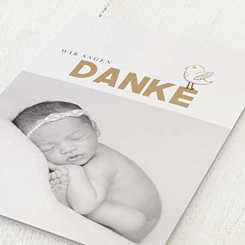 Danksagungskarten Geburt, Baby Vögelchen, 5er Klappkarten-Set C6, wahlweise Goldfolien-Veredelung, personalisiert mit Wunschtext & persönlichen Bildern, optional mit passenden Design-Umschlägen