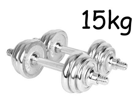 For Sale! Haoyushangmao Kansoon 15kg Silver Electroplating Adjustable Weights Man Dumbbell Set with ...