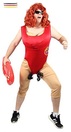 Foxxeo Lustiges Kostüm für Herren Männer Rettungsschwimmer - Größe M-XXL - Sexy Rettungsschwimmerin mit Busen Babewatch Badeanzug Junggesellenabschied lustig Herrenkostüm Größe M-L