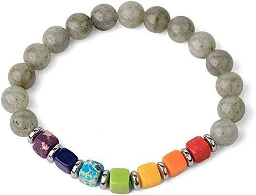 NC110 Pulseras de Hilo de Piedra Natural Cuadradas 7 Chakras Turquesas Bead Reiki Crystal Brazaletes elásticos para Mujeres (Color del Metal: Howlita) -Labradorita