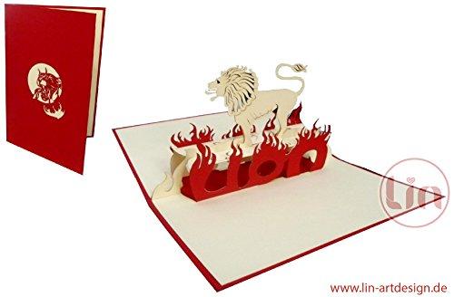 LIN POP UP Kaart 3D Wenskaart Dierkaart Verjaardagskaart Sterrenbeeld Leeuw (#200)