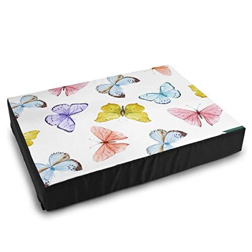 YAGEAD Haustier Betten Aquarell Vektormuster mit schönen Schmetterlingen Nahtlose Tapete Katzenbetten für mittelgroße kleine Hunde Kissen Bett