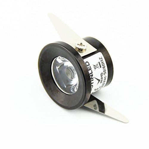 10unidades 1W Pequeño techo abajo luz LED Focos de 3000K + Controlador