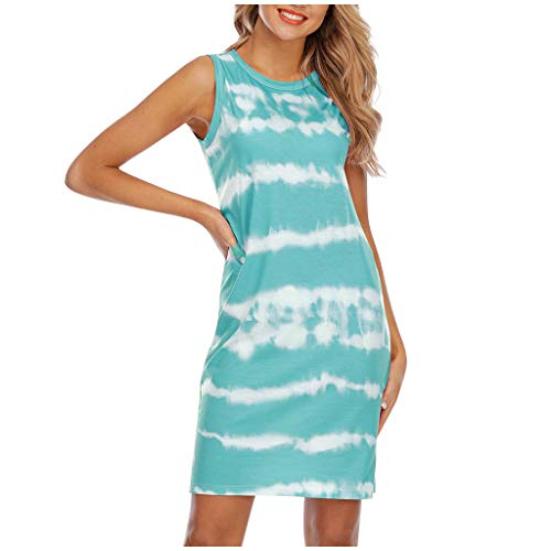 Amazing Deal HoneyGod Short Tank Top Dresses for Women Casual Summer Fashion Tie-Dye Round Neck Beac...