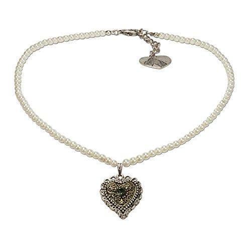 Alpenflüstern Perlen-Trachtenkette Trachtenherz - nostalgischer Damen-Trachtenschmuck mit Strass-Herz Bicolor-Farben, Filigrane Dirndlkette Creme-weiß DHK184
