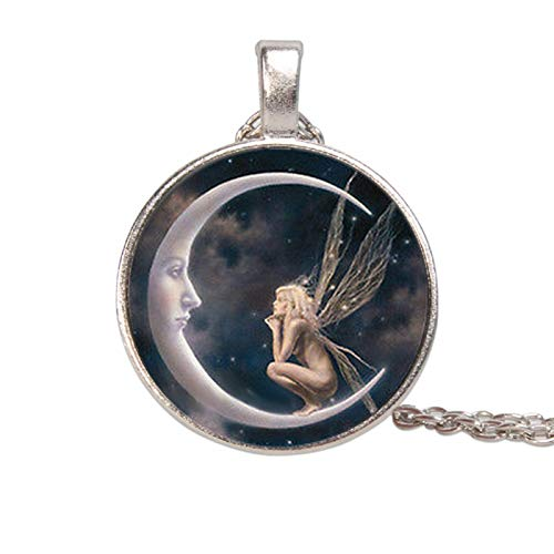 Women Fashion Elegant Angel on Moon Art Photo Round Cabochon Glass Charm Chain Necklace for Party Daily Jewelry Gift - Silver