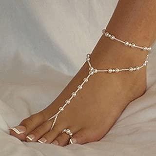 Nattypat Bridal Beach Pearl Barefoot Sandal Foot Jewelry Anklet Bracelet Ankle Chain WBC