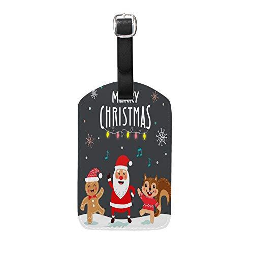 CHEHONG Étiquettes à Bagages pour valises drôles Carte de Noël et Affiche Design en Cuir Accessoires de Voyage Étiquette Sac Laggage Carte d'identité Couleur 1 (2 pièces). 5x2.8(inch)