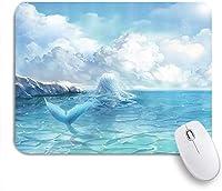 KAPANOUマウスパッド かわいい人魚のノベルティ海と空の雲の子供の女の子の漫画 ゲーミング オフィス おしゃれ 耐久性が良い 滑り止めゴム底 ゲーミングなど適用 マウス 用ノートブックコンピュータマウスマット