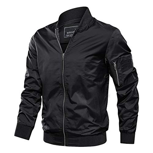 TACVASEN Lightweight Jacket for Men Spring Fall Thin Bomber Coat, Black L