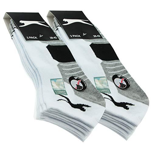 Slazenger 6 Paar Sportsocken Herrensneaker, Piquetherstellung, ausgezeichnete Qualität gekämmter Baumwolle (Weiß, 43-46)