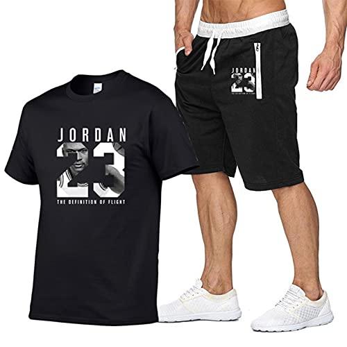 BJZX Jordan 23 # - Chándal para hombre, camiseta y pantalones cortos de primavera y verano, camisetas de moda callejeras suaves y cómodas para gimnasio, jogging Sportswear Jersey negro-S