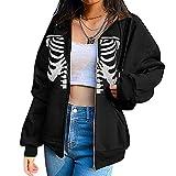 Y2K Vintage Graphic Zip Up Sudadera con capucha con estampado de calavera y manga larga para mujer, Esqueleto Negro, M