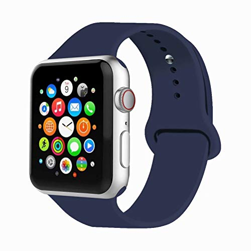 IYOU Sport Band Compatible with Watch Band 38MM 42MM 40MM 44MM, Soft Silicone Replacement Sport Strap Compatible with 2018 Watch Series 5/4/3/2/1(Midnight Blue,42MM, M/L)