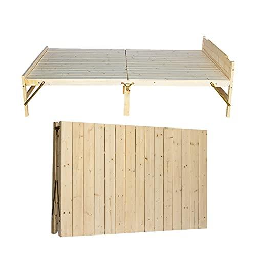 Cama plegable de madera maciza Cama individual portátil, Cama de pino natural alargada 195cm Cama plegable para niños del hogar, Con cabecero y somier, Se puede utilizar en habitaciones de hotel