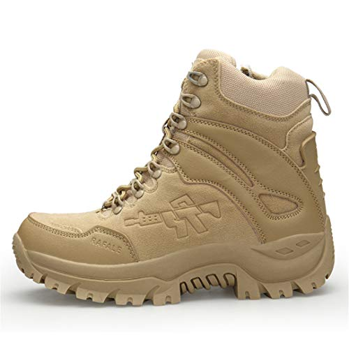 TH&Meoostny Hombres Camuflaje Botas de Caza Antideslizante Zip Roca Escalada Zapatos balanceable Transpirable Masculino Zapatillas de Deporte Sand A09 45