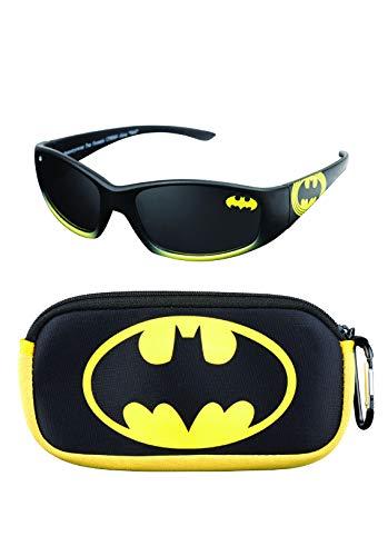 Batman Boy's Retro Squared Sunglasses and Soft Pouch Case Set (Black)
