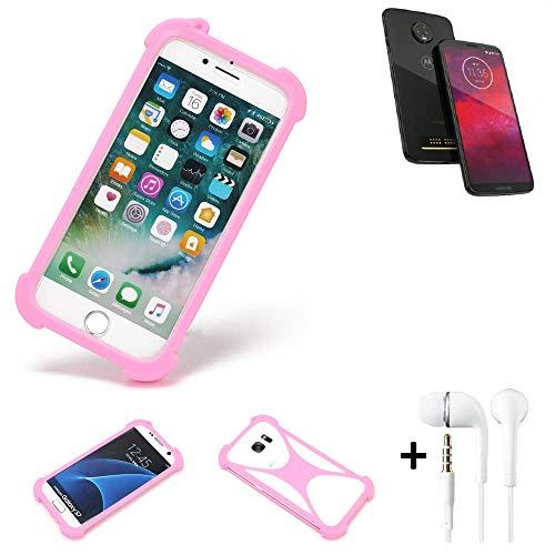 K-S-Trade Bumper + Kopfhörer Für Motorola Moto Z3 Handyhülle Schutzhülle Silikon Schutz Hülle Cover Case Silikoncase Silikonbumper TPU Softcase Smartphone, Pink (1x)