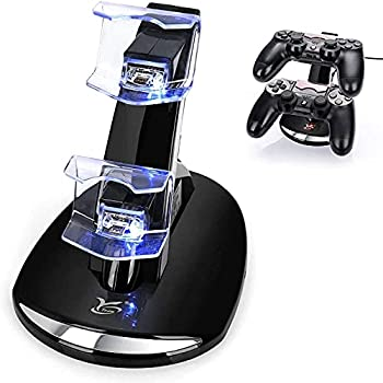 PS4 Controller Charger Y Team Playstation 4 / PS4 / PS4 Pro / PS4 Slim Controller Charger Charging Docking Station Stand.Dual USB Fast Charging Station & LED Indicator for Sony PS4 Controller--Black