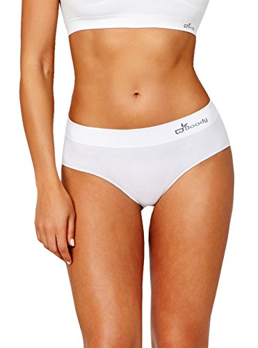 Boody Body EcoWear Women's Midi Brief - Seamless Underwear made from Natural Organic Bamboo Viscose - Soft Breathable Eco Fashion for Sensitive Skin - White, Large, Two Pack