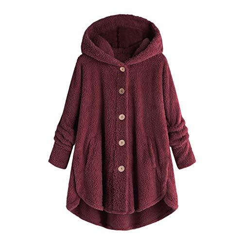 Kobilee Chaqueta de forro polar para mujer con capucha, larga, tallas grandes, elegante, invierno, cálida, Teddy mullida, chaqueta de felpa, burdeos, S
