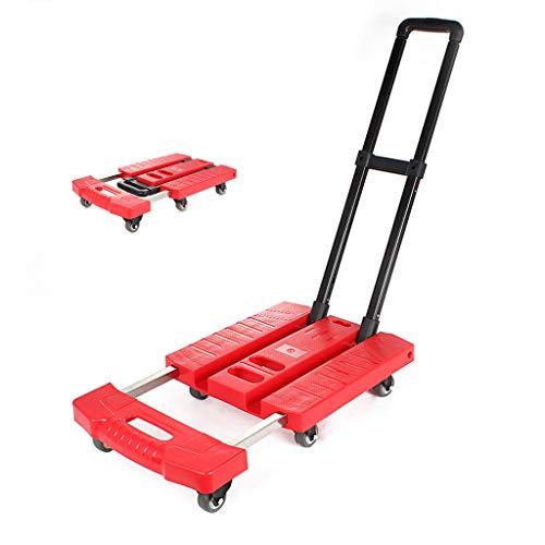 Chariot de Transport Pliable 400kg Charge de Capacit/é Diable Plateforme /à 6 Roues en M/étale Plastique Chariot de Bagages avec Poign/ée R/églable pour Transport D/ém/énagement Bagages