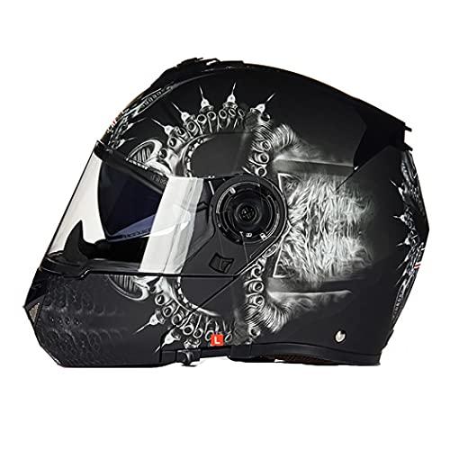 Smilfree Casco Modular De Motocicleta para Hombres Casco Casco De Motocicleta Doble Visera Casco De Motocicleta Aprobado por Dot/ECE para Hombres Y Mujeres Casco Integral Moto, M~XXXL