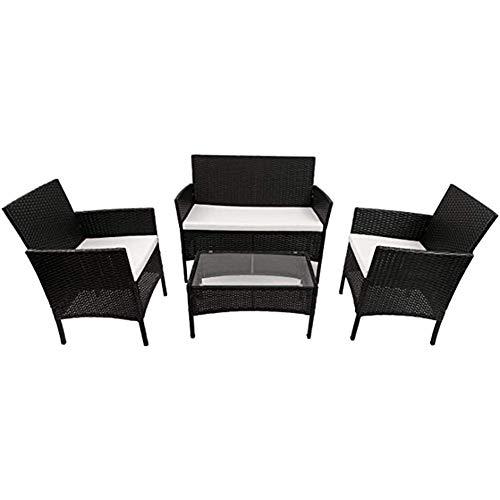 Negro ratán de Muebles for el jardín al Aire Libre o de Interior Invernadero, 4 sillas Piezas Set Rattan sofá, una Mesa Rota con Vidrio Templado de Mesa WKY