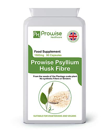 Psyllium Husks 1500mg x 90 Capsules - Natural Dietary Fibre for Colon Cleansing & Bowel Health - UK Manufactured | GMP Standards by Prowise Healthcare