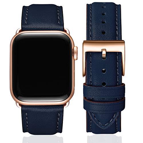 SUNFWR Lederbänder für Apple Watch Armband 38mm 40mm 42mm 44mm,Männer Frauen Ersatz-Echtlederband für iWatch Serie 6 5 4 3 2 1,SE,Sport,Edition(38mm 40mm,Dunkelblau&Roségold Adapter)
