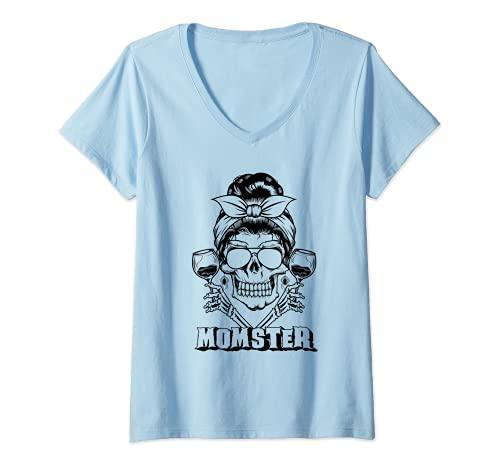 Mujer Moo desordenado crneo vino beber mam mam mam Camiseta Cuello V