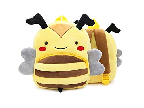 Cute toddler zoo animal backpack, cartoon 3-6 year old boy girl cute animal plush backpack toddler mini school bag (bee)