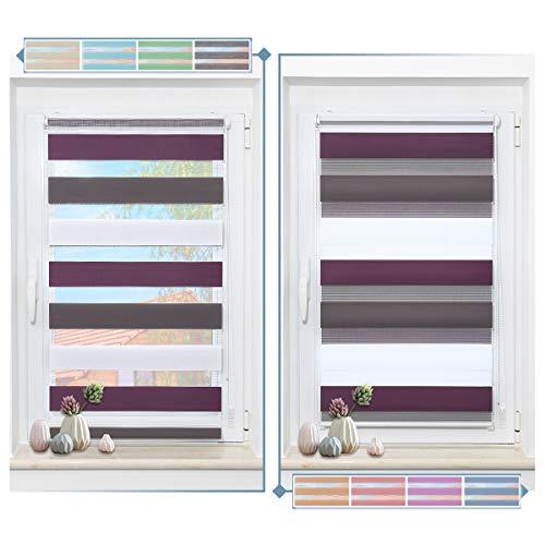 Zarnan Doppelrollo 80x150cm(BxH) Weiß-Anthrazit-Lila,Rollos für Fenster Tür ohne Bohren,Klemmfix Duo Rollo lichtdurchlässig und Blickdicht,stark Sichtschutz und Sonnenschutz Fensterrollo innen