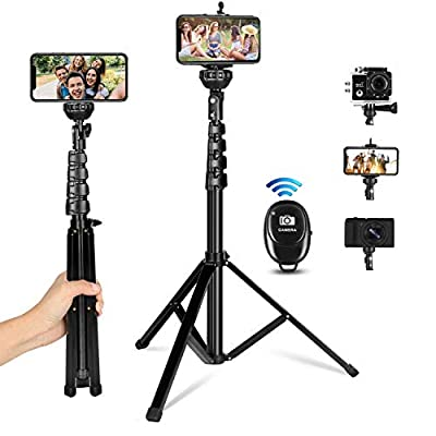 """Selfie Stick Tripod, All-in-One 62"""" Extendable Cell Phone Tripod Stand Selfie Stick with Wireless Remote Compatible for iPhone Samsung Android Phones DSLR Camera, Heavy Duty Aluminum, Lightweight by KAMISAFE"""
