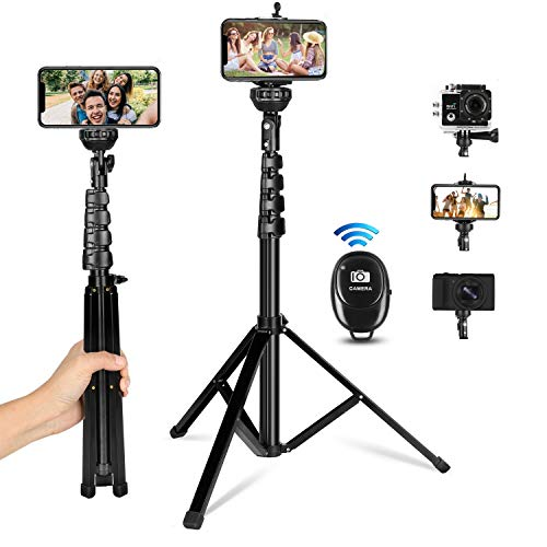 Selfie Stick Tripod, All-in-One 62' Extendable Cell Phone Tripod Stand Selfie Stick with Wireless Remote Compatible for iPhone Samsung Android Phones DSLR Camera, Heavy Duty Aluminum, Lightweight