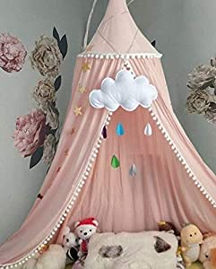 Bed Canopy for Girls Bed with Pom Pom, Cotton Dome Mosquito Net for Baby, Kids Indoor Outdoor Playing Reading, Bedroom Decoration (Peach Pink) from Vchoco