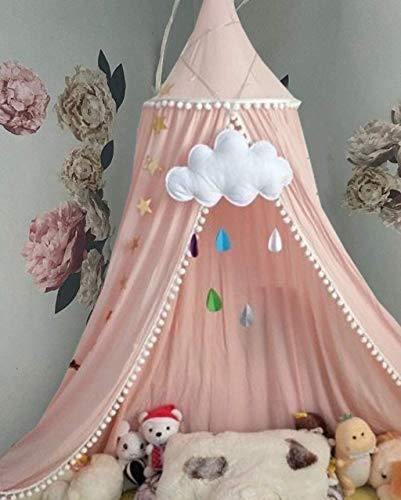 Baldachin für Kinder, Baby-Bettwäsche, Runde Kuppel hängende Moskitonnetz, Kinder Spielzelt Baumwolle Moskitonetz, Raumdekoration für Kinder (Rosa)
