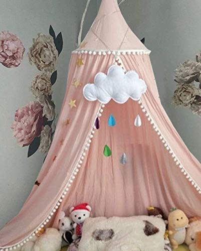 Bed Canopy for Girls Bed with Pom Pom, Cotton Dome Mosquito Net for Baby, Kids Indoor Outdoor Playing Reading, Bedroom Decoration (Peach Pink)