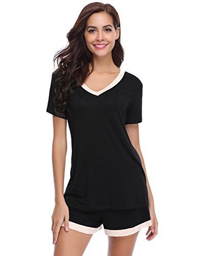 Aibrou Damen Pyjama Schlafanzug Baumwolle Kurz Nachtwäsche Nachthemd Hausanzug Kurzarm V Ausschnitt für Sommer Schwarz XL
