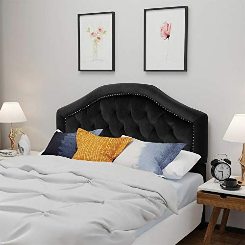 Velvet Studded Seam Tufted Queen/Full Headboard (Black)