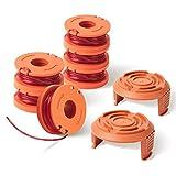 AIEVE Filo per decespugliatore, 6 pezzi, bobina di filo di ricambio e 2 pezzi, copertura bobina compatibile con 20 V Worx decespugliatore come WG163E WG180 WG175 WA0010