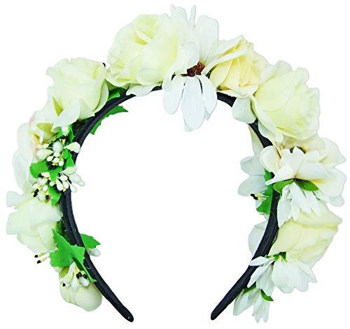 Trachtenland Hochwertiger Blumen Haarreif Blumenwiese - Creme Weiß