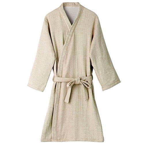 hiorie(ヒオリエ) 日本製 バスローブ プレーン ガーゼ ベージュ 表ガーゼ裏パイル レディース ガウン
