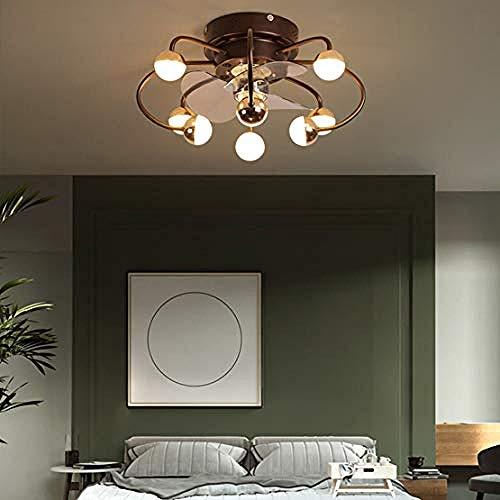 SaixnYz Ventiladores de techo con lámpara Hoja inversa con luz Control remoto regulable Lámparas de techo para sala de estar Dormitorio Habitación infantil-Dorado