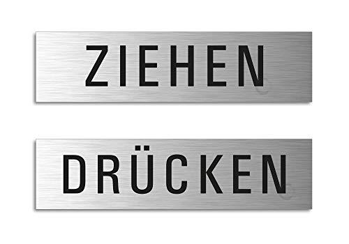 Türschilder - Ziehen + Drücken | 2er-Set Aluminiumschilder Edelstahl-Optik 160x40 mm | Ofform Design Nr.28008-S
