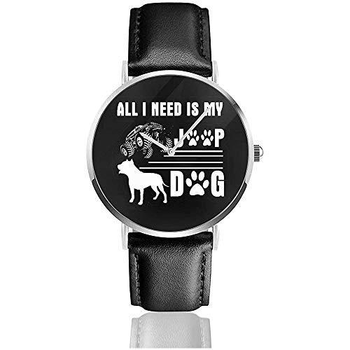 Reloj de Pulsera de impresión UV para Negocios Unisex Todo lo Que Necesito es mi Reloj de Cuero Jeep My Dog con Correa de Cuero PU