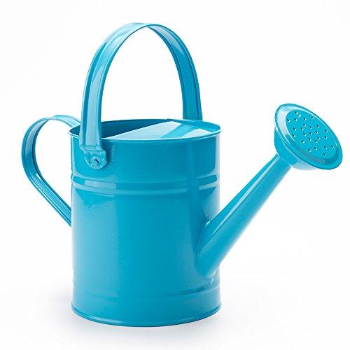 Vale la Pena 1,5 Letre Metal cubo de riego, Beautiful Azul / Verde / Rosado Kids Los Niños jardín regadera con antioxidante recubrimiento de polvo (Azul)