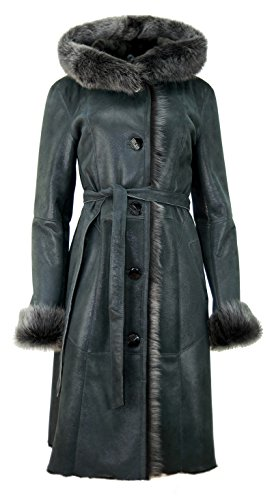 DX-Exclusive wear Damen-Schaffellmantel, Lammfellmantel mit Toscana Fell KPKD-0013 (38, Graphit)
